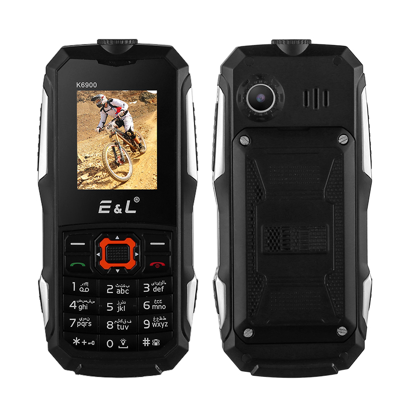 Wholesale Rugged Cell Phone EL K6900 - IP68 Waterproof & Dustproof, Dual SIM, FM Radio, Bluetooth, Flashlight, 2000mAh Battery (Black)