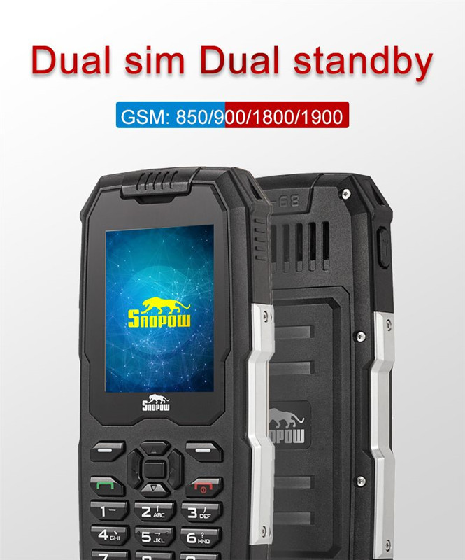 Wholesale SNOPOW M2 Phone - IP68 Waterproof, FM Radio 0.3MP Camera, Flashlight, 2500mAh Battery, 2.4-Inch (Black)