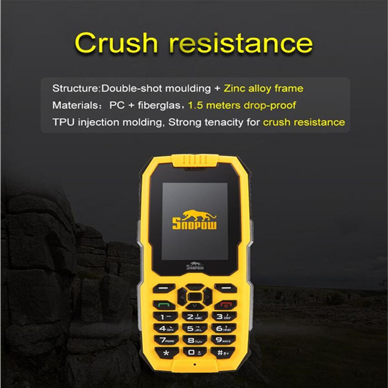 Wholesale SNOPOW M2 Phone - IP68 Waterproof, FM Radio 0.3MP Camera, Flashlight, 2500mAh Battery, 2.4-Inch Yellow