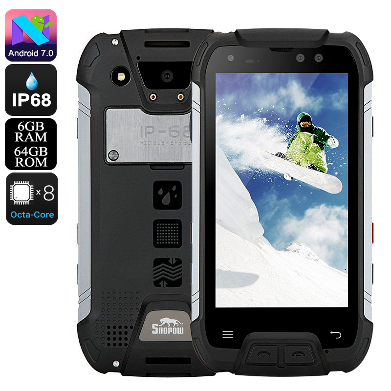 Wholesale Snopow M10 Rugged Phone - Octa-Core CPU, 6GB RAM, Android 7.0, Dual-IMEI, 5.0-Inch Full-HD, 16MP Cam, IP68, 6500mAh (Black)