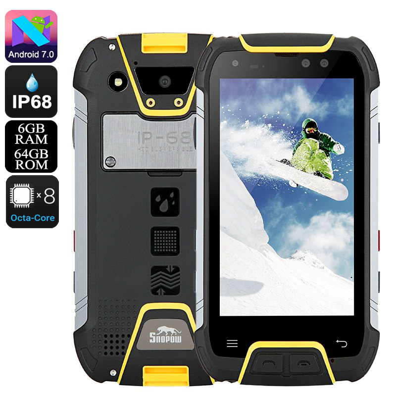 Wholesale Snopow M10 Rugged Phone - Octa Core CPU, 6GB RAM, IP68, 4G, Android 7.0, 5.0 Inch FHD Display, 6500mAh Battery (Yellow)