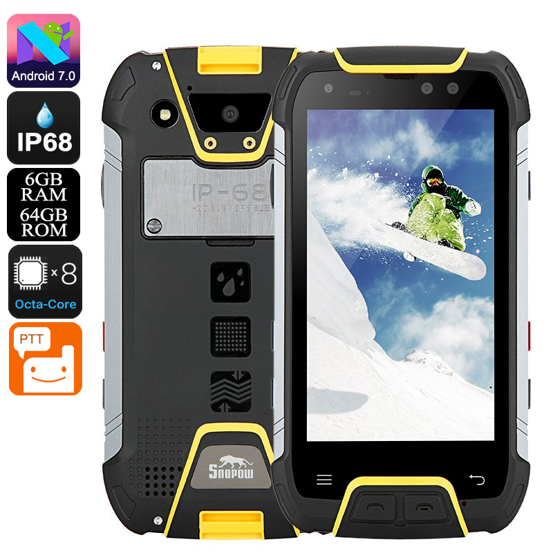 Wholesale Snopow M10W Rugged Phone - Octa Core CPU, 6GB RAM, IP68, 6500mAh Battery, Dual SIM, 4G, Walkie-Talkie, 5 Inch Screen (Yellow)