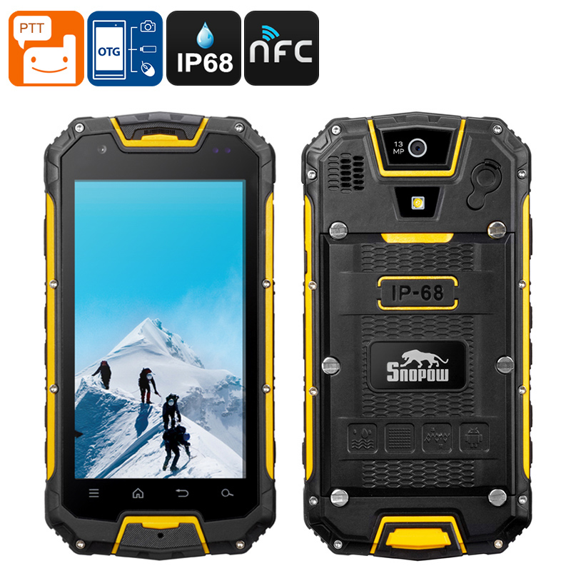 Wholesale Snopow M5 Rugged Phone - 3300mAh Battery, IP68, Walkie-Talkie, Dual SIm, 4G, Android OS (Yellow)