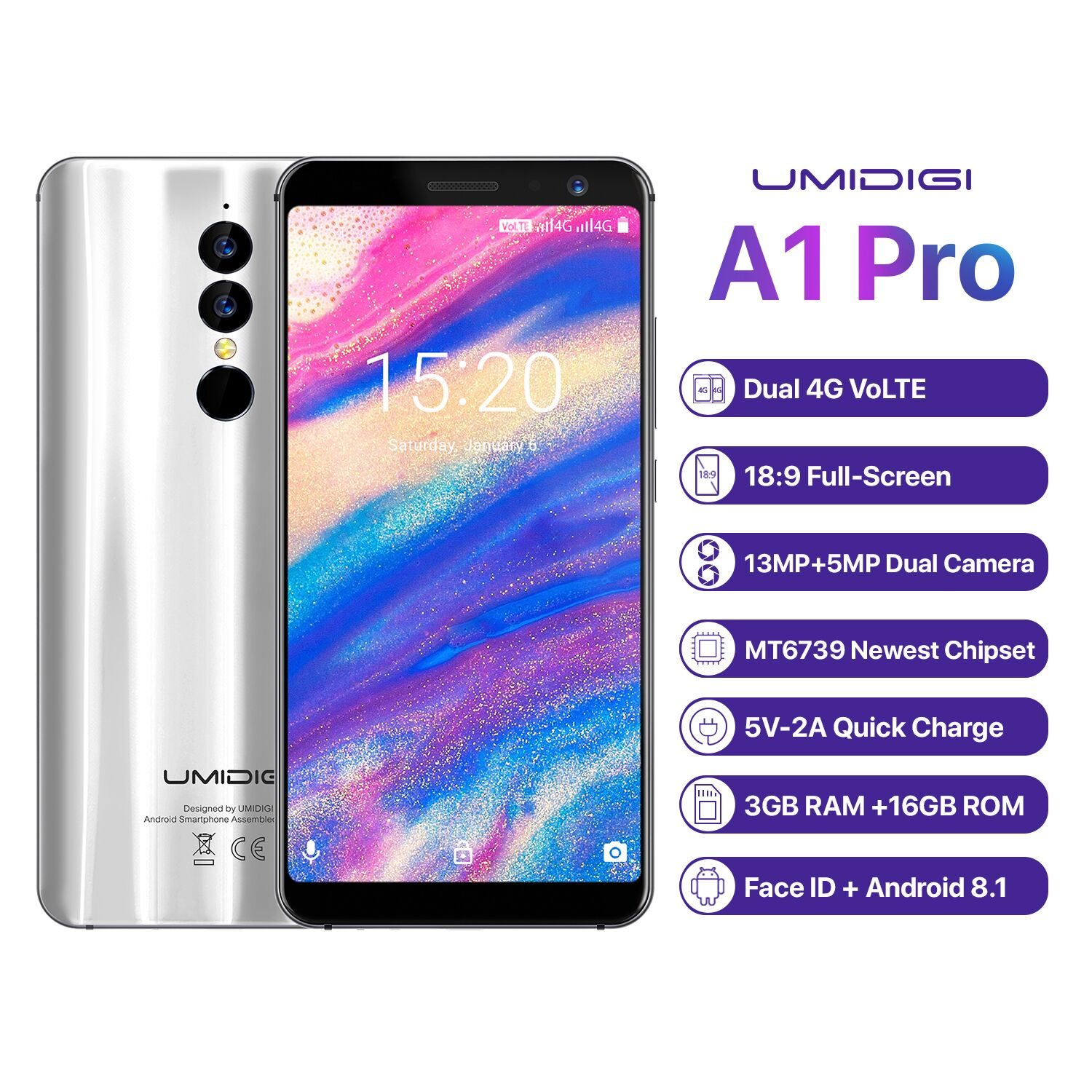 Wholesale UMIDIGI A1 Pro 4G Smartphone-Android 8.1, 5.5 Inch, Face Unlock, 3150mAh, 3GB RAM, MTK6739 (Silver)