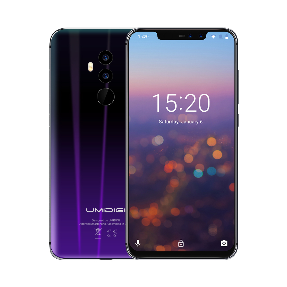 Wholesale UMIDIGI Z2 Smartphone-Android 8.1, 5.5 Inch, Face Unlock, 3550mAh, 6GB RAM, MTK Helio P23 (Twilight-Black)