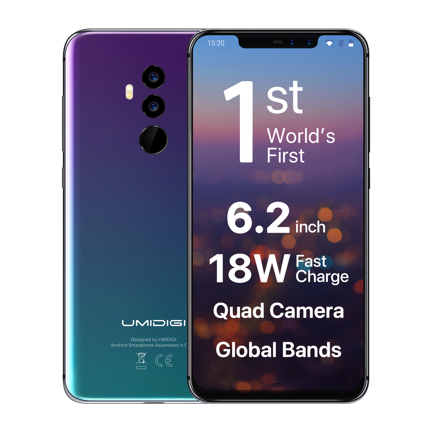 Wholesale UMIDIGI Z2 Smartphone-Android 8.1, 6.2 Inch Full Screen, Face Unlock, 3850mAh, 6GB RAM, (Twilight)