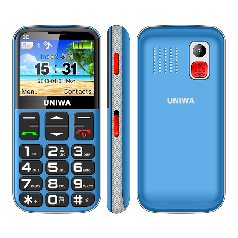 Wholesale UNIWA 3G Mobile Phone With Big Keys - FM radio 3 MP Camera, Flashlight, 1400 mAh battery, 2.3 inches, Blue