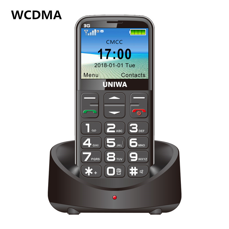 Wholesale UNIWA 3G mobile phone with big keys - FM radio 3 MP camera, flashlight, 1400 mAh battery, 2.3 inches