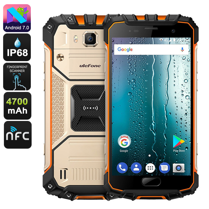 Wholesale Ulefone Armor 2S Rugged Smartphone - 5 Inch Display, 4G, Android 7.0, Quad Core CPU, 2GB RAM, IP68 (Gold)