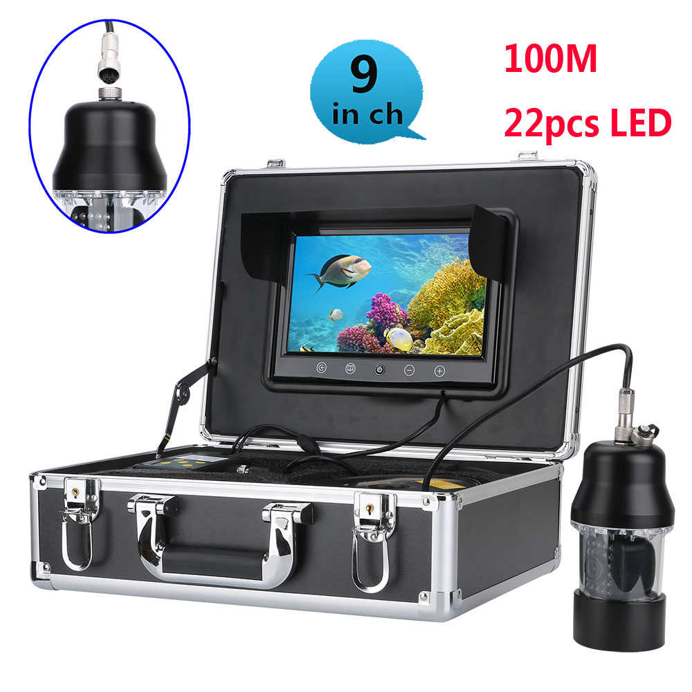 Wholesale Underwater fishing video recorder -360 degrees, 100 meters, 1/3 inch SONY CCD, 700 TVL, remote control, 9 inch color display send