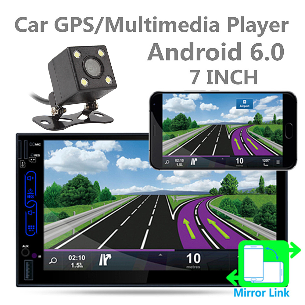 Wholesale Universal 2 DIN Car Player - 7 Inch HD, Android 6.0, WiFi, GPS, Bluetooth, RDS, 16GB ROM, Rear View Camera