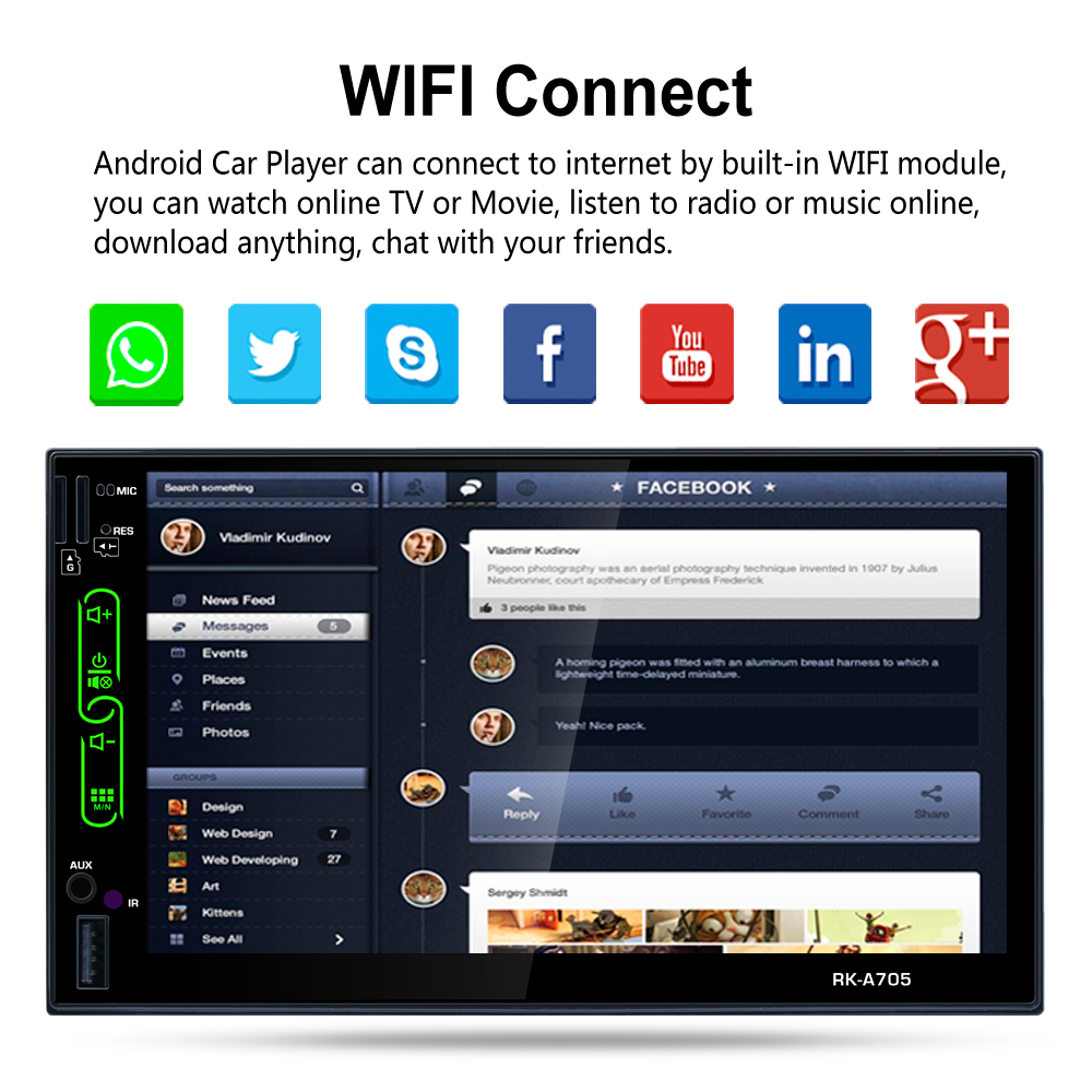 Universal 2 DIN Car Player - 7 Inch HD, Android 6 0, WiFi