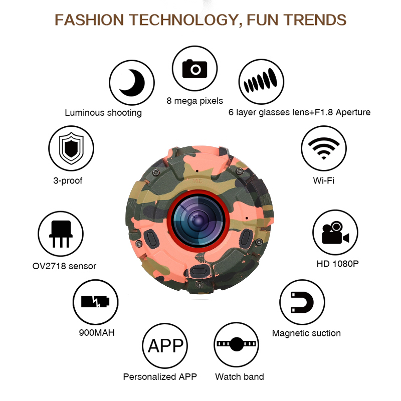 Wholesale Wearable and Detachable Smart Sports Camera - 1080P, APP, Wifi, Magnetic Base, Waterproof, Car DVR, Hunting Camera (Red)