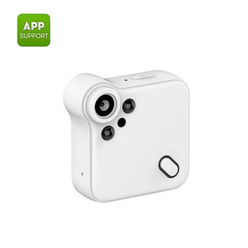 Wholesale Wearable mini WiFi camera -1080P, night vision, motion detection, CMOS, 140 degrees, White