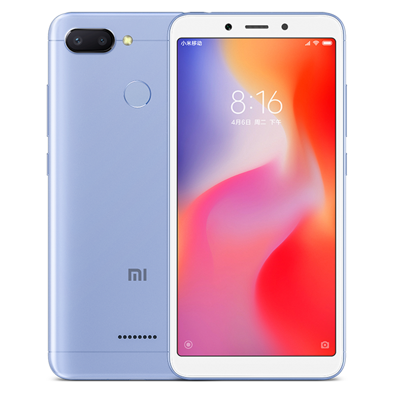 Wholesale Xiaomi Redmi 6 Android Phone - 5.45 Inch Screen, Octa Core, Dual Camera, Support TF Card, Fingerprint, 4G (Blue)