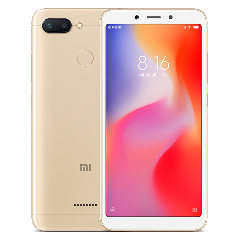 Wholesale Xiaomi Redmi 6 Android Phone - 5.45 Inch Screen, Octa Core, Dual Camera, Support TF Card, Fingerprint, 4G (Gold)