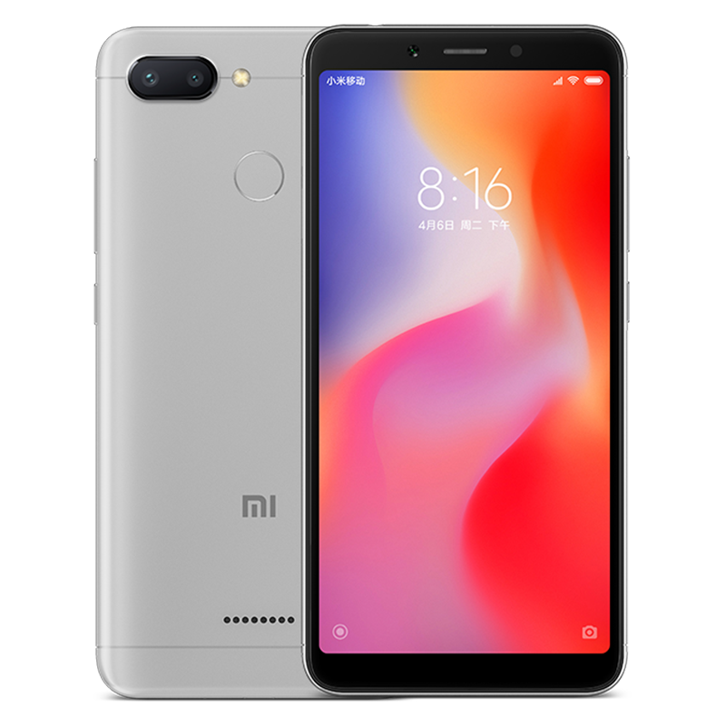 Wholesale Xiaomi Redmi 6 Android Phone - 5.45 Inch Screen, Octa Core, Dual Camera, Support TF Card, Fingerprint, 4G (Gray)