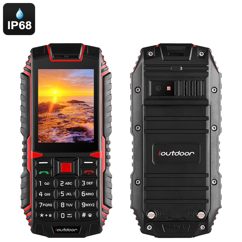Wholesale iOutdoor T1 Rugged Phone - Dual-IMEI, 2100mAh Battery, IP68 Waterproof, Bluetooth, 2MP Camera, Flashlight (Red)