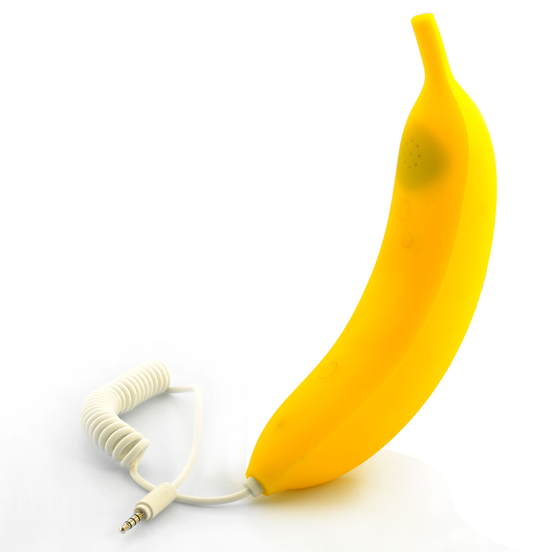 Wholesale Banana Shaped Phone Handset w/ Answer/End Call Button (3.5mm Jack, 120cm Cable)