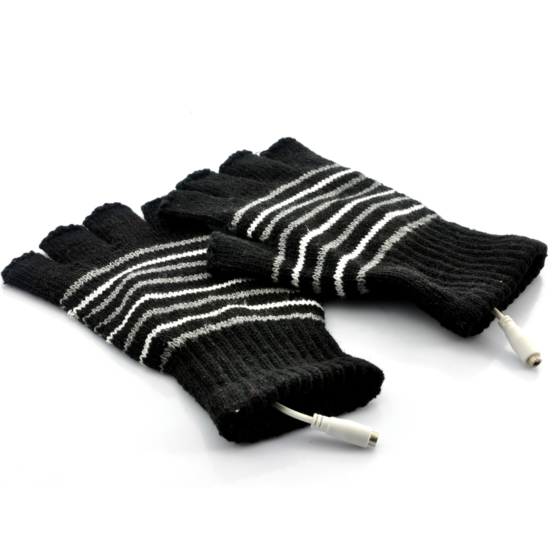 Wholesale Fingerless Gloves for Men (USB Heated, Black)