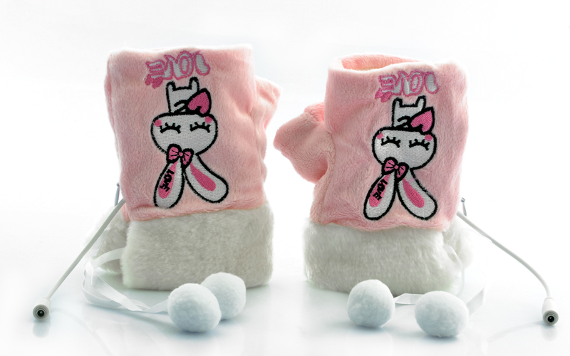 Wholesale Fingerless Gloves for Women (USB Heated, Pink and White)
